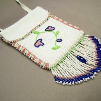 Beaded Deerskin Leather Bag (White with Floral Design)