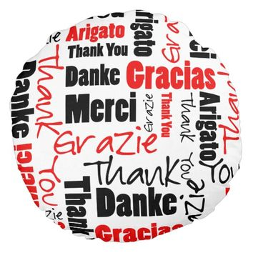 Red and Black Thank You Word Cloud Round Pillow