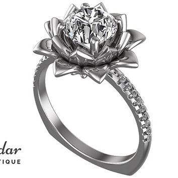 Moissanite Engagement Ring,Unique Flower Engagement Ring,Flower Engagement Ring,Lotus Ring,Vintage Ring,Leaves Engagement Ring,Fine Ring