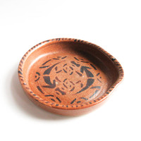 Pottery Spoon Rest - Reddish Brown Ceramic Spoon Holder, Hand Painted