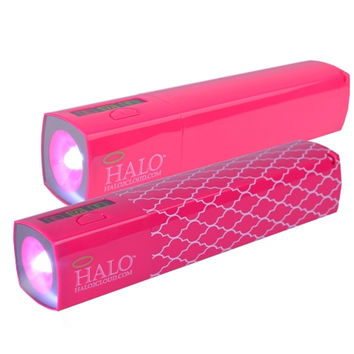 (48-Pack) Halo Pocket Power StarLight 3000mAh Power Bank w/Charging Cable & Flashlight Function (Pink / Pink Lattice)