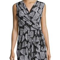 Neiman Marcus Bow-Print Sleeveless Short Jumpsuit, Black/White