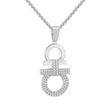 "Sterling Silver Hip Hop 14k White Gold Finish Designer AA Pendant Free 24"" Steel Box Chain"