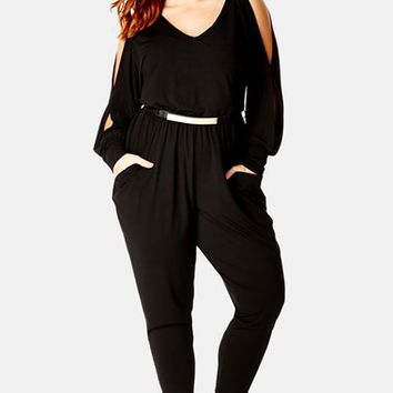 Plus Size Women's City Chic 'Miss Divine' Jumpsuit, Size X-Small - Black