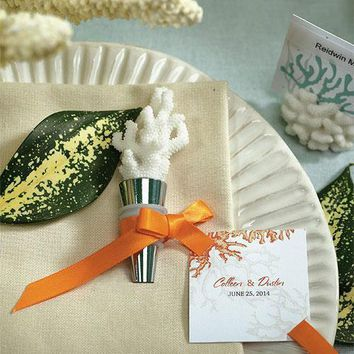 White Coral Wine Bottle Stopper Favor Gift Boxed (Pack of 1)