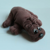 BROWN POUND PUPPY Vintage Stuffed Plush Dog, gift for child, brown toy for child