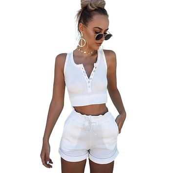 2017 Summer 95% Cotton Women Set Two Piece Set Top And Pants Colorful Button crop top moletom feminino ensemble drawstring