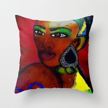 MRS AFRICA Throw Pillow by violajohnsonriley