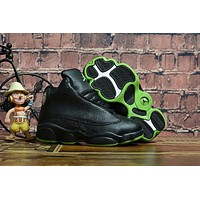 Kids Air Jordan 13 Retro Black/green Sneaker Shoe Size Us 11c 3y | Best Deal Online