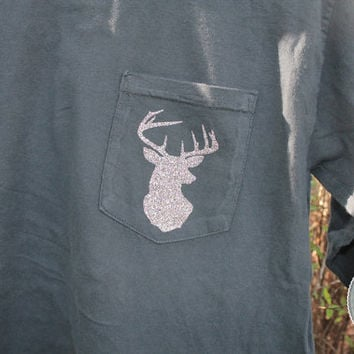 Glitter Deer Silhouette Long Sleeve Comfort Colors Pocket Tee