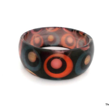 Vintage Lucite bangle bracelet multi-color moonglow effect