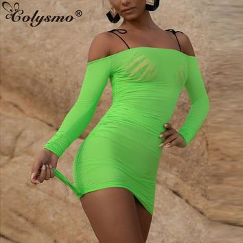 Colysmo Beachwear Summer Dress 2019 Women Sexy Off Shoulder Mesh See Through Bodycon Dress Neon Green Casual Beach Dress Pink