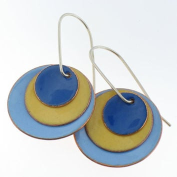 Enamel Circle Hanging Earrings in Yellow and Blues