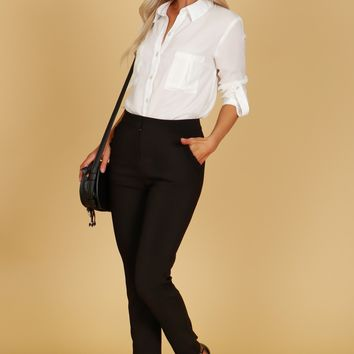 Ruffle Pocket Trouser Pants Black