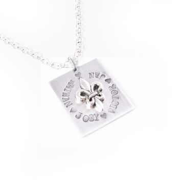 Fleur De Lis Personalized Name Necklace Hand Stamped Pendant Grandma Mother Day square necklace jewelry gift French Flower