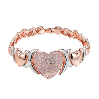 Heart Link Bracelet Rose Gold Tone Pink Lab Diamonds XOXO Link I Love You