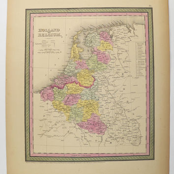 Antique Holland Map Belgium 1852 Mitchell Map Holland and Belgium Map, Netherlands Map, Northern Europe, 1st Anniversary Gift for Couple