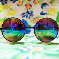 The Lennon | Vintage Hippie Black Circle Rainbow Sunglasses Retro Round Glasses Revo Mirror Lenses