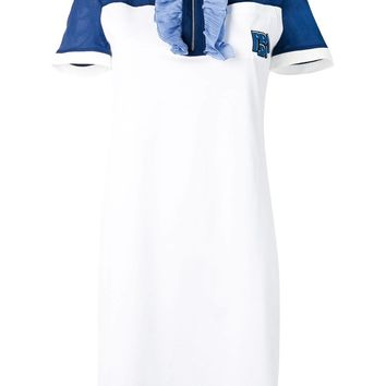 White Ruffle Trim Shirt Dress by Prada