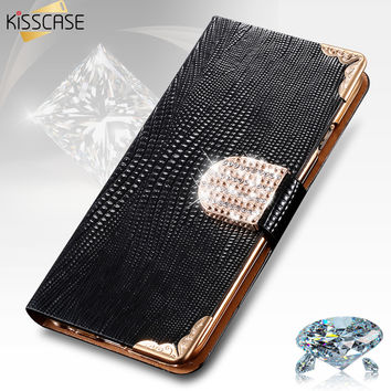 KISSCASE For iphone 4s 5s Case Fashion Bling Diamond Luxury Rhinestone Leather Wallet Case For Apple iPhone 4 4S 5s 6 6s Case