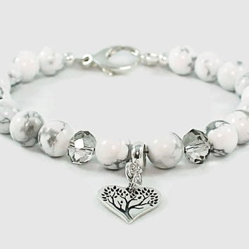 Women's Tree of Life Gemstone Bracelet with Etched Sterling Silver Charm