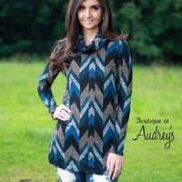 BLACK FRIDAY SPECIAL Teal, Black, Taupe, and Gray Printed Ribbed Knit Top with Cowl Neck