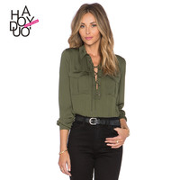Haoduoyi Drawstring tie neck long sleeve spring blouse Office lady women shirts