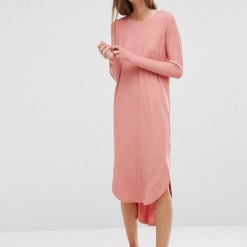 ASOS   ASOS Slouch Dress In Rib with Curved Hem at ASOS