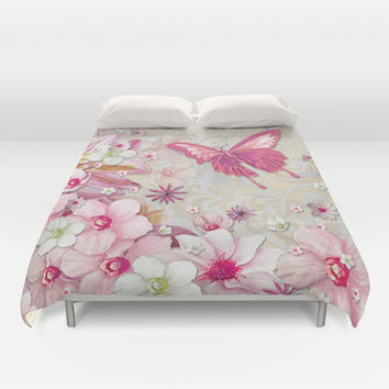 Whimsical Elegant Pink Flowers Butterfly Art Chic and Sophisticated Duvet Cover by Megan Aroon Duncanson ~ MADART | Society6