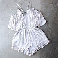 crinkled peek a boo shoulder romper with ruffle hem in shell