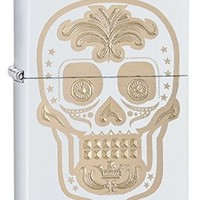 Zippo Pocket Lighter White Matte Gold Sugar Skull Pocket Lighter