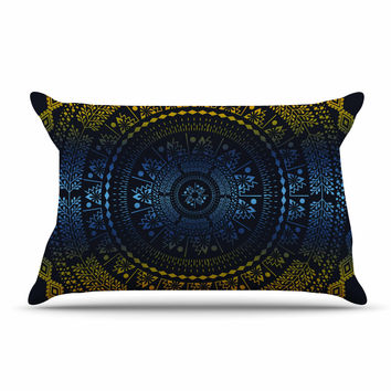 "Famenxt ""Night Queen Boho Mandala"" Multicolor Illustration Pillow Case"
