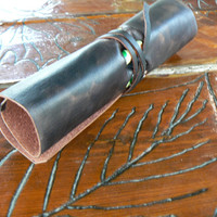 Leather Pencil Case Roll Up  Leather Minimal Pen Bag, Crazy Horse Leather, Handmade , Rustic  Dark Brown