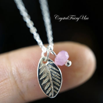 Tiny Rose Quartz Necklace - Sterling Silver Rose Quartz Necklace  - Tiny Leaf Necklace Dainty Rose Quartz Choker