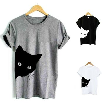 Cat Looking Outside Print T-shirt Cotton