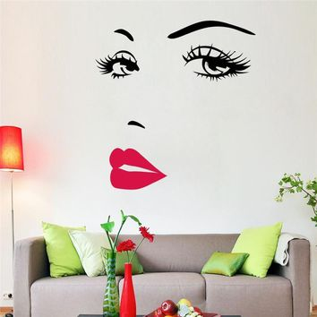 Sexy Girl lip eyes wall stickers living bedroom decoration zooyoo8469 diy vinyl adesivo de paredes home decals mual art poster