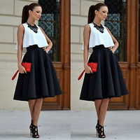 Vintage Women Stretch High Waist Skater Flared Pleated Swing Long Skirt
