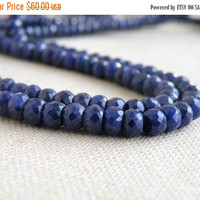 51% Off Blue Sapphire Gemstone Faceted Rondelle 4.5 to 5mm 50 beads