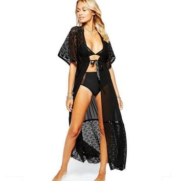 PEAPGC3 Black Lace Bikini Cover Up Women Loose Floor Length Beach Dress Swimsuit Cover-ups Beach Tunic Wear