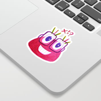 Cute Geek Mathematician Watercolor Candy Sticker by borianagiormova