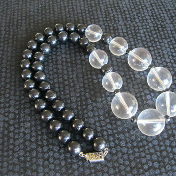 Lucite Clear and Black Chunky Necklace Vintage