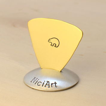 Spirit Bear Brass Triangular Bass Guitar Pick