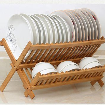 2 Levels Bamboo Folding Dish Rack Dish Drying Rack Holder Utensil Drainer Collapsible Compact Wooden Dinner Plates Holder
