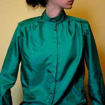 Vintage Blouse Emerald Green High Collar Button Up 1980s Women Shirt