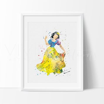 Snow White 3 Watercolor Art Print