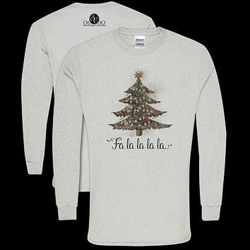 Southern Couture Classic Fa La La Tree Holiday Long Sleeve T-Shirt
