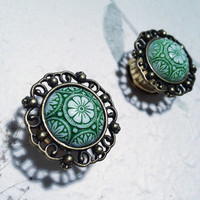 "Vintage Bronze Crest Plugs with Green Czech Pattern 10mm (3/8"")(00g) 12mm (1/2"") 14mm (9/16"") 16mm (5/8"") 18mm (11/16"") (BSD085)"