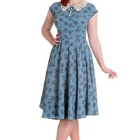 Hell Bunny 60's Vintage Style Blue Vintage Bicycle Penny Lover Tea Party Dress