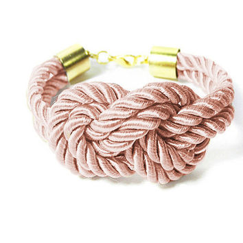 Bridesmaid Knot Bracelet, Dusty Pink Knot Bracelet, Silk Cord Rope Bracelet, Tie the knot Bracelet, Blush Pink Wedding