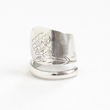 Vintage Sterling Silver Flower Spoon Ring - Retro Size 8 1/2 Bypass Floral Mum Statement Jewelry